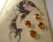 4 Vintage Swarovski Tiny Heart Charms in Citrine