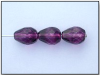 Vintage Czech Glass Beads - Teardrops in Amethyst Purple