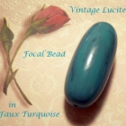 Bold Vintage Lucite Elongated Oval Beads in Turquoise Aqua 2