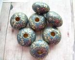Vintage Lucite Artisan Beads Carved Gold Soldier Blue