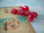 30 Vintage Moonglow Lucite Oval Beads Cranberry Red Raspberry