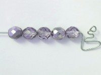8mm Czech Fire Polish Beads Lilac Half Coat Metallic