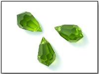 Vintage Czech Machine Cut Crystal Teardrop Beads in Olivine