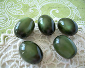 5 Vintage Moonglow Lucite Oval Beads Olive Green
