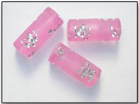 Vintage Frosted Pink Lucite Beads with Designs Carved in Silver