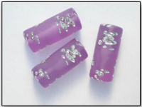 Vintage Frosted Lilac Purple Lucite Beads with Designs Carved in Silver