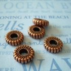 Vintage Lucite Spacer Beads 5 Ribbed Copper Black