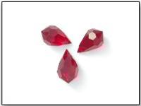 Vintage Czech Machine Cut Teardrop Bead in Siam Ruby