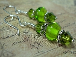 Signs of Spring Dangle Earrings in Shades of Green
