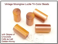 Vintage Moonglow Lucite Tri-Color Beads 12