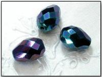Vintage Czech Peacock Aurora Borealis Teardrop Glass Beads