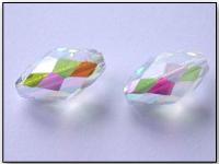 Vintage West German Machine Cut Crystal AB Olive Beads