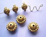 Vintage Lucite Beads Puffed Rondelles in Antique Gold 6