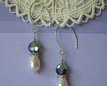 Winter Frost Earrings - Swarovski Sparklers - Turmaline Green and Pearls