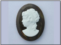 Vintage West German Lucite Cameo in Faux Woodgrain