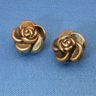 Vintage Lucite Beads Sculpted Roses Gold Black 2